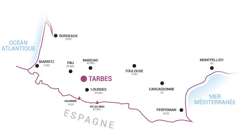 Carte de localisation de Tarbes dans les Hautes-Pyrénées
